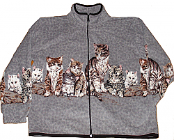 Reversible Polar Fleece Gray Border Cats Kittens Jacket (Sm - Lg)