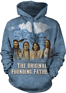 The Mountain Founders Mount Rushmore Originals Native American Hoodie Sweatshirt (XL)
