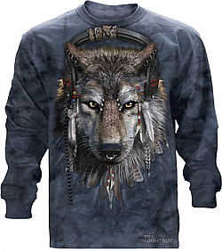 "The Mountain ""DJ Fen"" Indian Wolf Headphones Long Sleeve Shirt (3x)"