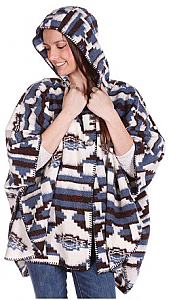 Bear Ridge Merced Washable Looped Wool Native American Aztek Hooded Cape / Poncho