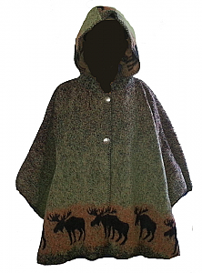 Bear Ridge Sunset Moose Washable Looped Wool Hooded Cape