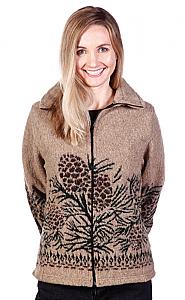 Pine Cones Looped Wool Cinchback Jacket by Bear Ridge