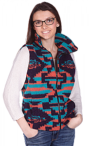 Clearance Sale Modesto Aztec Southwest Looped Wool Fleece Cinchbach Vest (xs - sm)