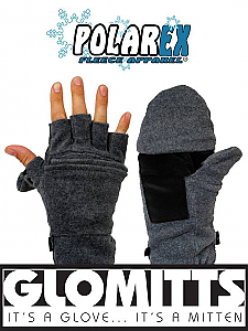 Glomitt Fold Back Fleece Mitts Black