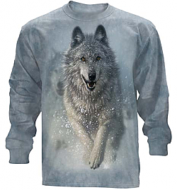 "The Mountain ""Snow Plow"" Wolf Husky Long Sleeve T-Shirt (Sm)"