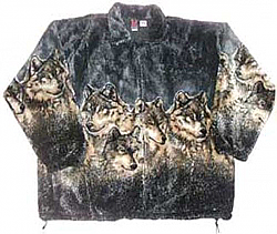 Gray Wolf Plush Fleece Jacket Adult (Lg - 4X)