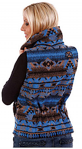 Pueblo Southwest Looped Wool Fleece Cinchbach Vest