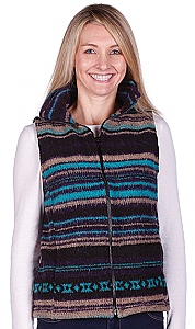 Bear Ridge Turquoise Stripes Southwest Looped Wool Fleece Cinchback Vest