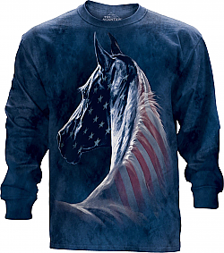 The Mountain Patriotic Horse Head USA American Flag Long Sleeve Shirt (XL)