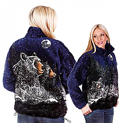 Bear Ridge Moonlight Black Bears Plush Fleece Jacket Adult (Lg, XL)