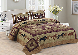 Running Horses Quilt 3 piece Set (Queen, King)