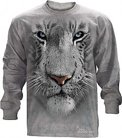 The Mountain White Tiger Face Long Sleeve T-Shirt (XL - 3X)