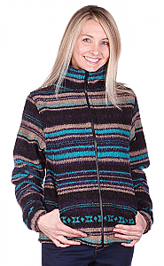 Turquoise Stripes Looped Wool / Fleece Cinchback Jacket by Bear Ridge Outfitters