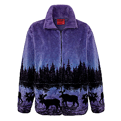 Black Mountain Twilight Moose Plush Fleece Jacket Adult (XS - 3X)