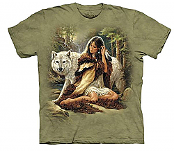 New The Mountain Protector Native American Indian Maiden Wolf T-Shirt (Lg)