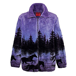 Black Mountain Twilight Horses Plush Fleece Jacket Midnight Run Adult (XS - 3X)