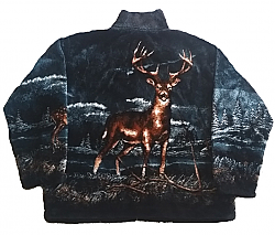 Black Mountain Buck Whitetail Deer Plush Fleece Jacket Adult (Md - 2x)
