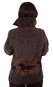 Sunrise Horses Looped Wool / Fleece Cinchback Jacket (XS - 3X)