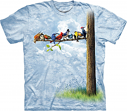 The Mountain Bird Tree Chickadee Bluebird Cardinal Blue Jay Titmouse American Goldfinch Nuthatch Pileated Woodpecker T-Shirt