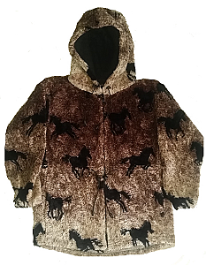 All Over Horses Plush Fleece Hooded Horse Jacket Adult (Sm)
