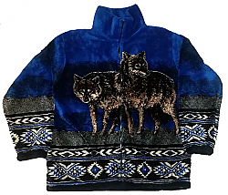 Black Mountain Blue Wolves Plush Fleece Wolf Jacket Adult (Med)