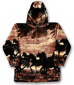 Sunset Horses Plush Fleece Hooded Horse Jacket Adult (Sm)
