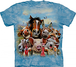 The Mountain Farm Selfie ADULT Short Sleeve T-Shirt horse, donkey, cow, pig, goat, rooster, sheep, turkey, duck (Sm - 2x)