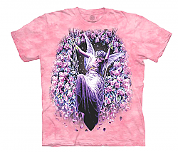 The Mountain Gatekeeper Pink Short Sleeve Angel Roses Fantasy T-Shirt (Sm - 3X)