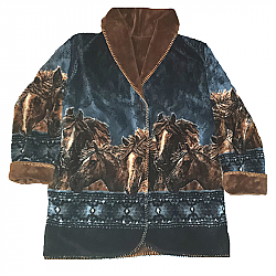 Black Mountain Reversible Starlight Horses Plush Fleece Hooded Jacket Adult (Md - 2X)