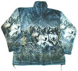 Wolf Faces Plush Fleece Wolves Print Jacket Adult (XS - 4X)
