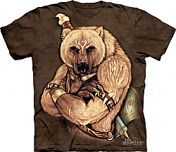 New The Mountain Tribal Bear Native Grizzly Warrior T-Shirt (Sm - XL)