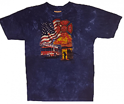 The Mountain Kids Firefighter Fireman FD ladder flag Youth Tee Shirt (Sm, XL)