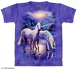 The Mountain Mystical Horses Short Sleeve Arabian White Horse T-Shirt (Sm - 3x)