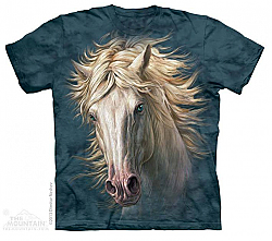 The Mountain White Horse Portrait Arabian T-Shirt (Sm)