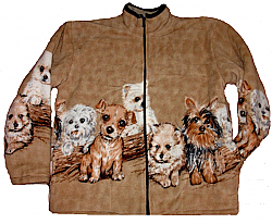 Reversible Polar Fleece Puppies on Beige Dog Jacket (SM - Lg)