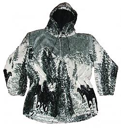 3 Horses Hooded Plush Fleece Jacket with Hood Adult (XS / SM)