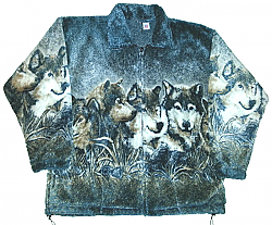 Wolf Faces Plush Fleece Jacket Junior Sizes