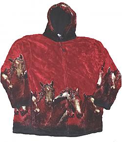 Crimson Red Horses Hooded Plush Fleece Jacket with Hood Adult (2X)