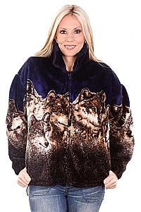 Wolf Faces Navy Plush Fleece Jacket Adult (Sm, 3X)