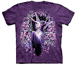 The Mountain Gatekeeper Short Sleeve Angel Roses Fantasy T-Shirt (Sm - XL)