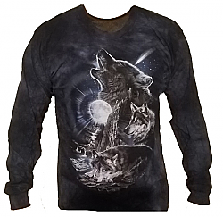 The Mountain Wolves Bark At the Moon Wolf Long Sleeve T-Shirt (Lg)